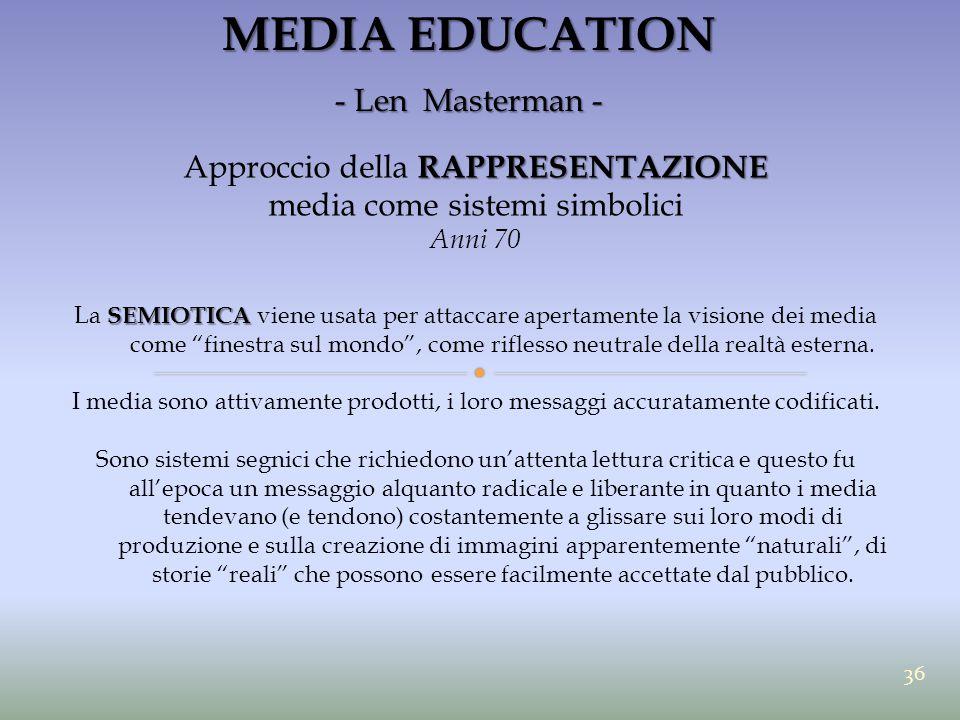 MEDIA EDUCATION - Len Masterman - RAPPRESENTAZIONE Approccio della RAPPRESENTAZIONE media come sistemi simbolici Anni 70 SEMIOTICA La SEMIOTICA viene