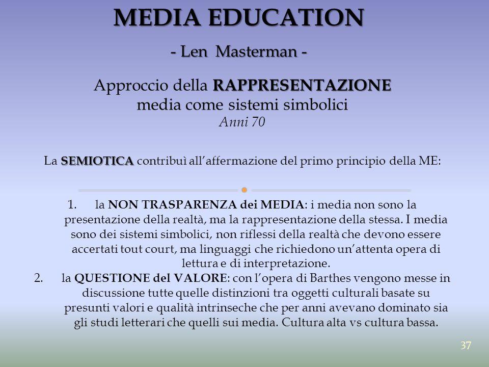 MEDIA EDUCATION - Len Masterman - RAPPRESENTAZIONE Approccio della RAPPRESENTAZIONE media come sistemi simbolici Anni 70 SEMIOTICA La SEMIOTICA contri