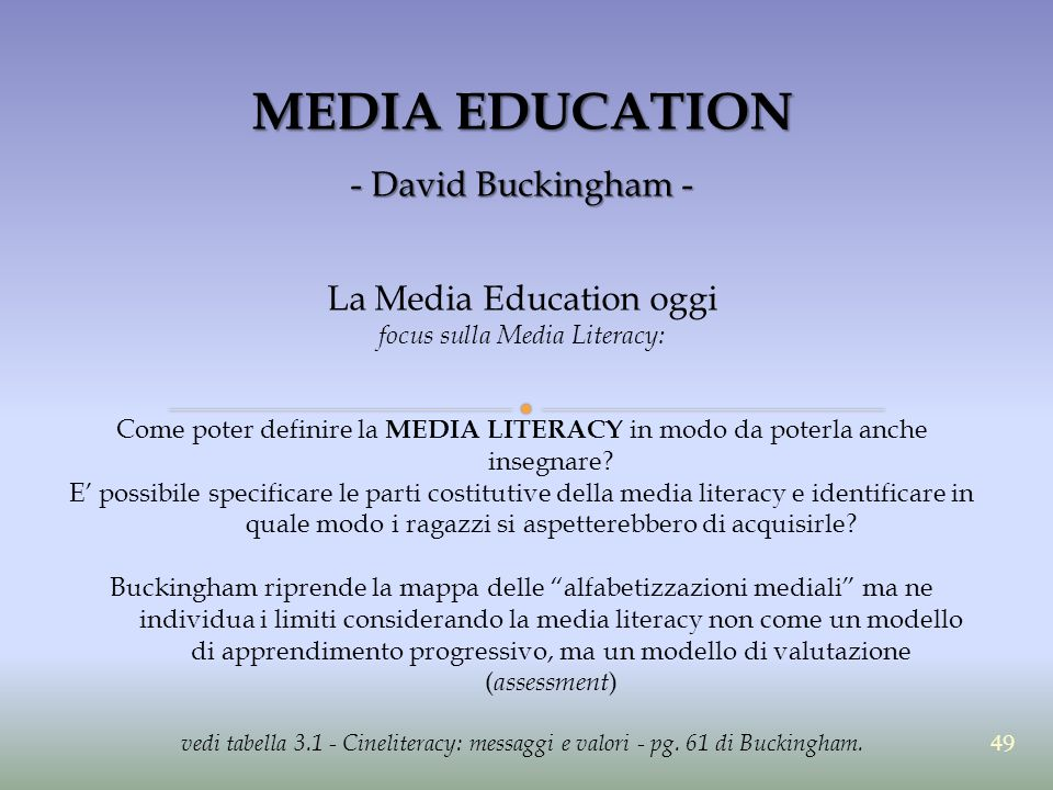 MEDIA EDUCATION - David Buckingham - La Media Education oggi focus sulla Media Literacy: Come poter definire la MEDIA LITERACY in modo da poterla anche insegnare.