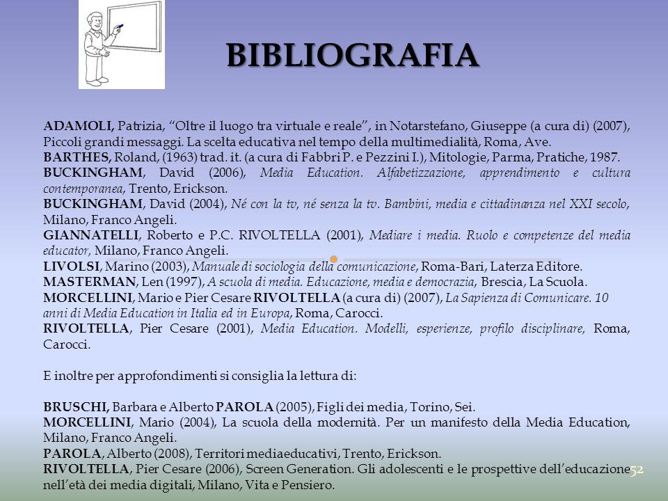 """BIBLIOGRAFIA ADAMOLI, Patrizia, """"Oltre il luogo tra virtuale e reale"""", in Notarstefano, Giuseppe (a cura di) (2007), Piccoli grandi messaggi. La scelt"""