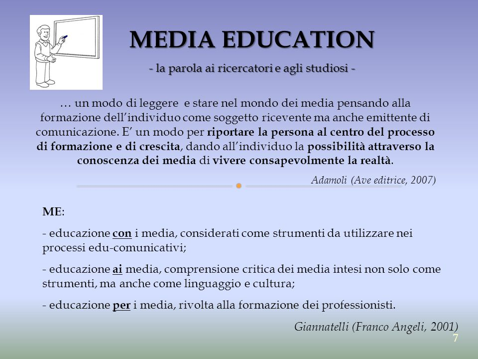 MEDIA EDUCATION - Len Masterman - INOCULATORIO Approccio INOCULATORIO media come agenti di declino culturale Anni 30-40 L'idea dei media intesi come malattia infettiva, veicolo di anti-cultura ha prodotto due diverse reazioni da parte degli insegnanti.