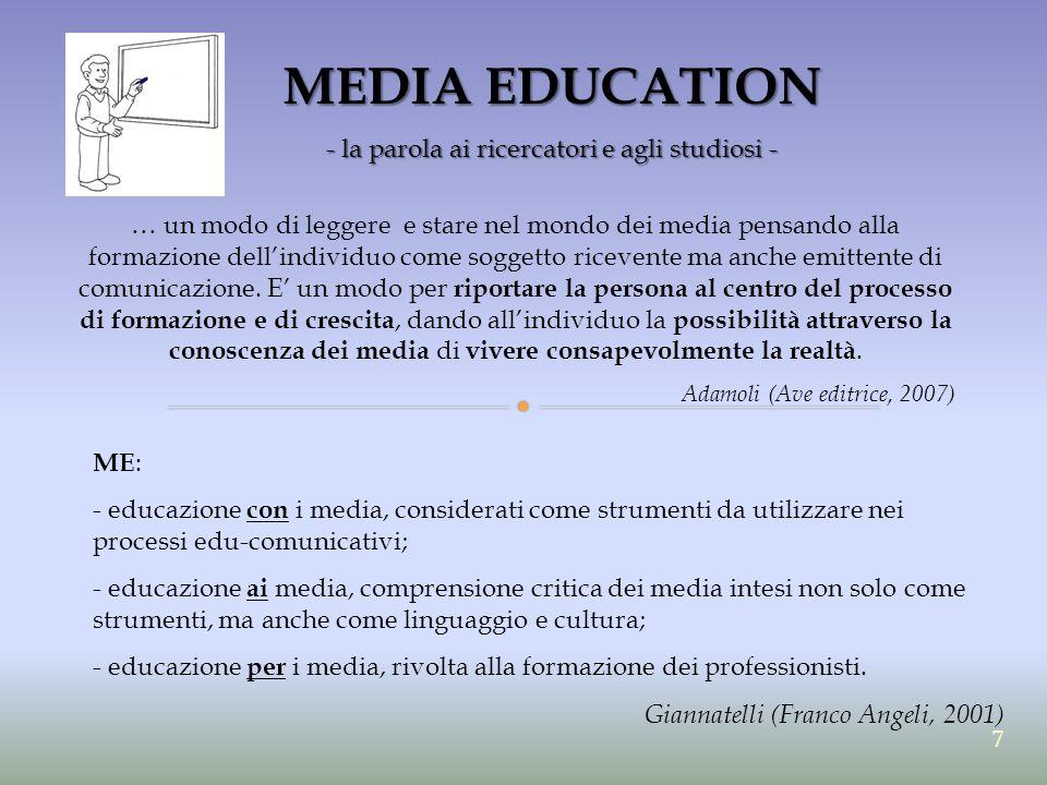 MEDIA EDUCATION - la parola ai ricercatori e agli studiosi - ME : - educazione con i media, considerati come strumenti da utilizzare nei processi edu-