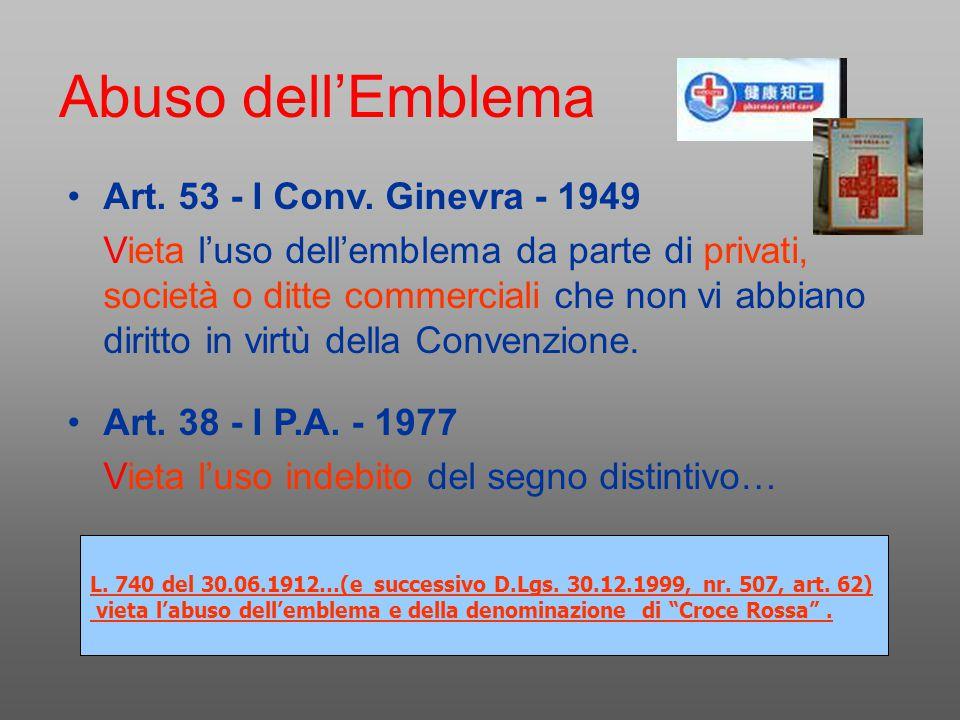 Abuso dell'Emblema Art. 53 - I Conv. Ginevra - 1949 Vieta l'uso dell'emblema da parte di privati, società o ditte commerciali che non vi abbiano dirit