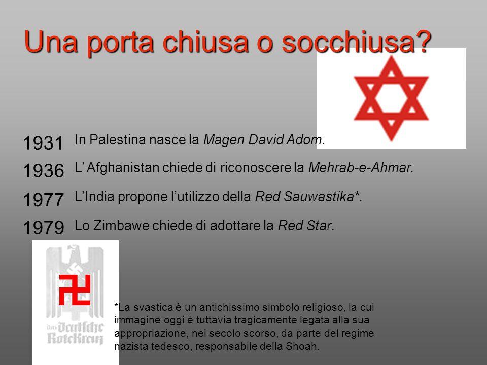 Una porta chiusa o socchiusa? 1931 In Palestina nasce la Magen David Adom. 1936 L' Afghanistan chiede di riconoscere la Mehrab-e-Ahmar. 1977 L'India p