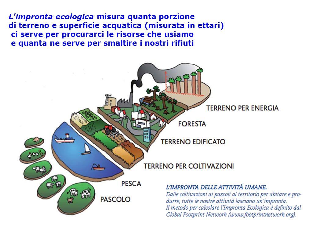 L'impronta ecologica misura quanta porzione di terreno e superficie acquatica (misurata in ettari) ci serve per procurarci le risorse che usiamo e qua