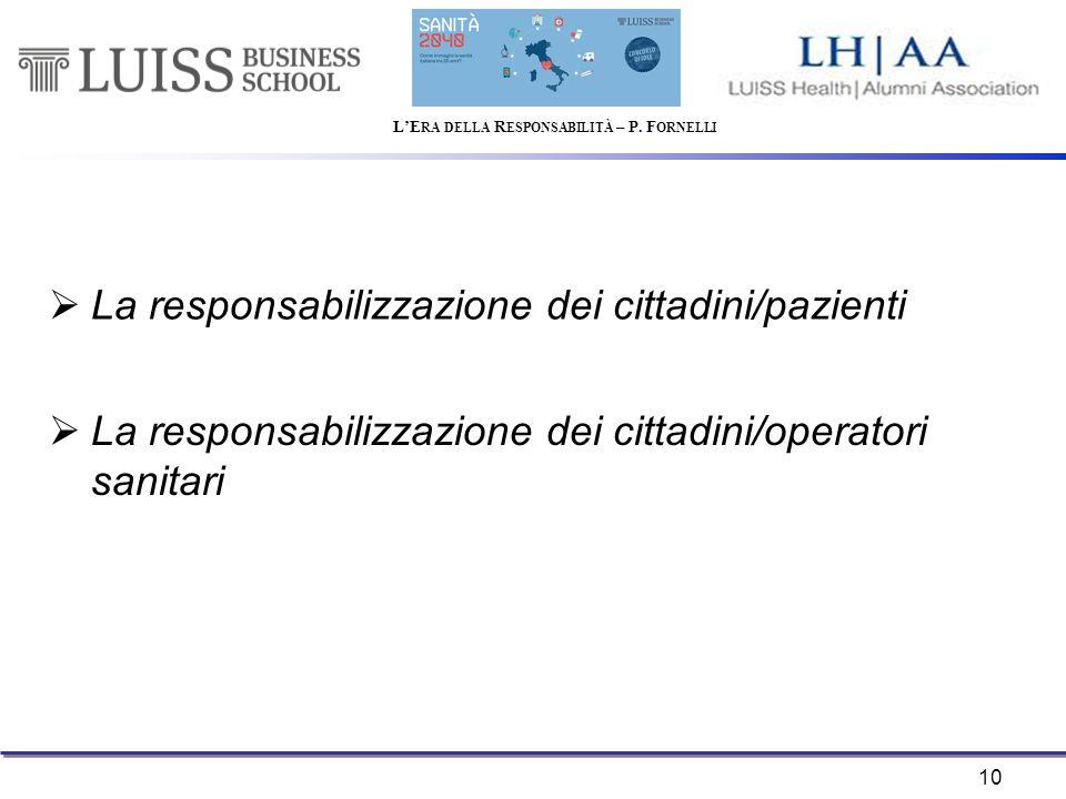 10  La responsabilizzazione dei cittadini/pazienti  La responsabilizzazione dei cittadini/operatori sanitari L'E RA DELLA R ESPONSABILITÀ – P.