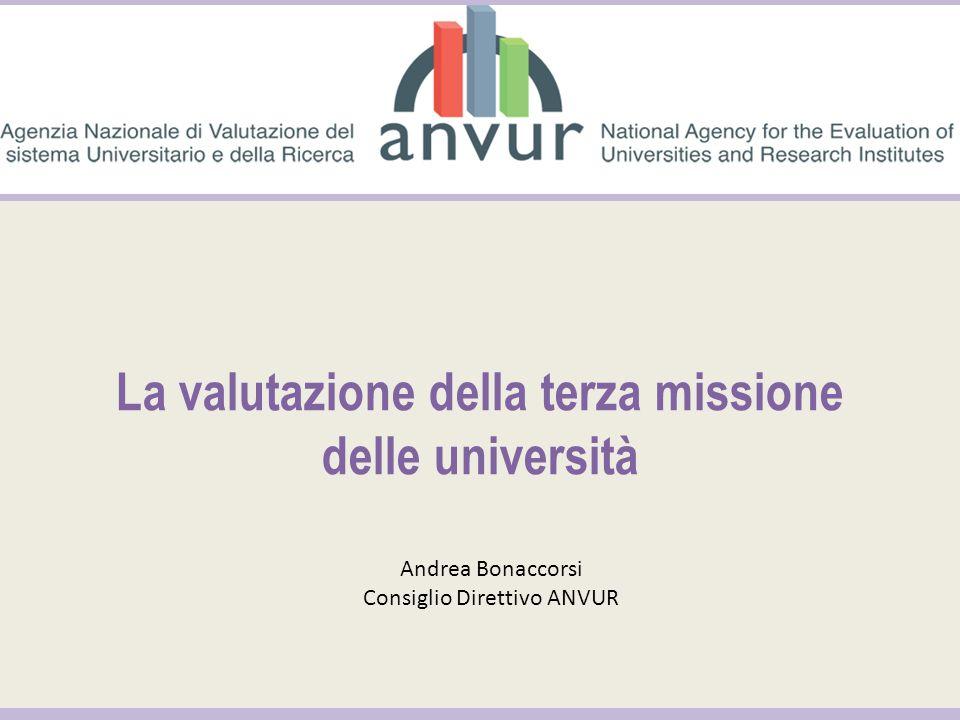 La valutazione della terza missione delle università Andrea Bonaccorsi Consiglio Direttivo ANVUR
