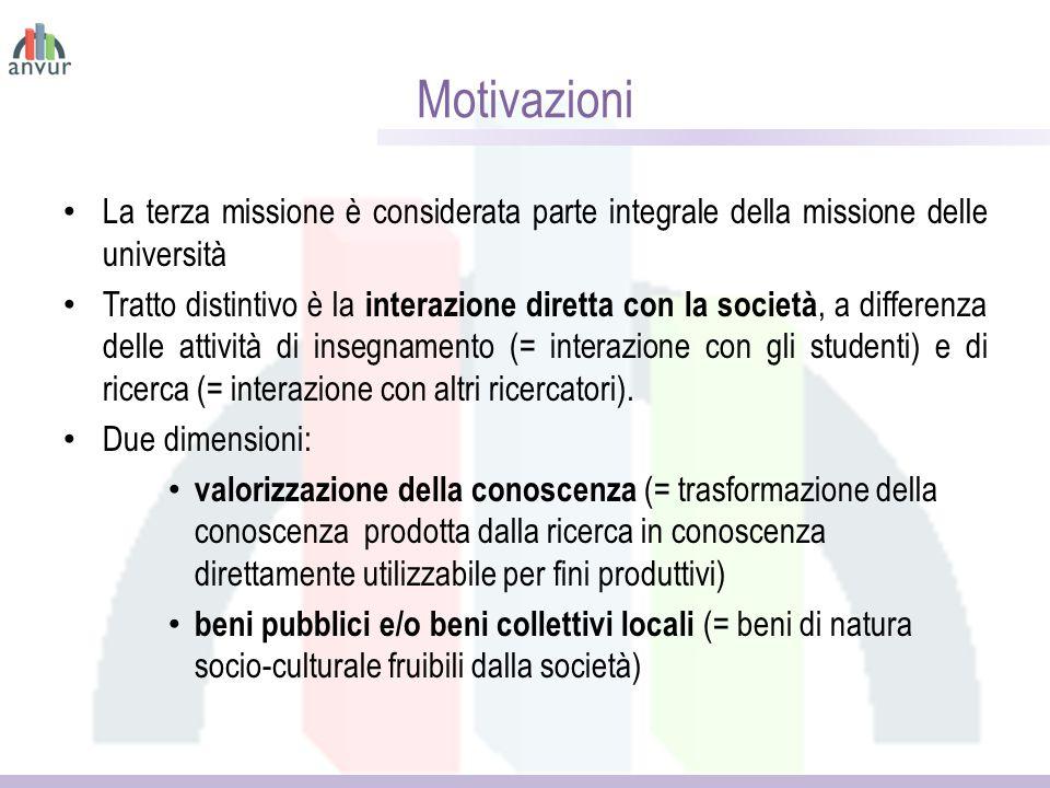 Motivazioni La terza missione è considerata parte integrale della missione delle università Tratto distintivo è la interazione diretta con la società, a differenza delle attività di insegnamento (= interazione con gli studenti) e di ricerca (= interazione con altri ricercatori).