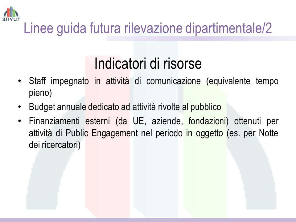 Linee guida futura rilevazione dipartimentale/2 Indicatori di risorse Staff impegnato in attività di comunicazione (equivalente tempo pieno) Budget an