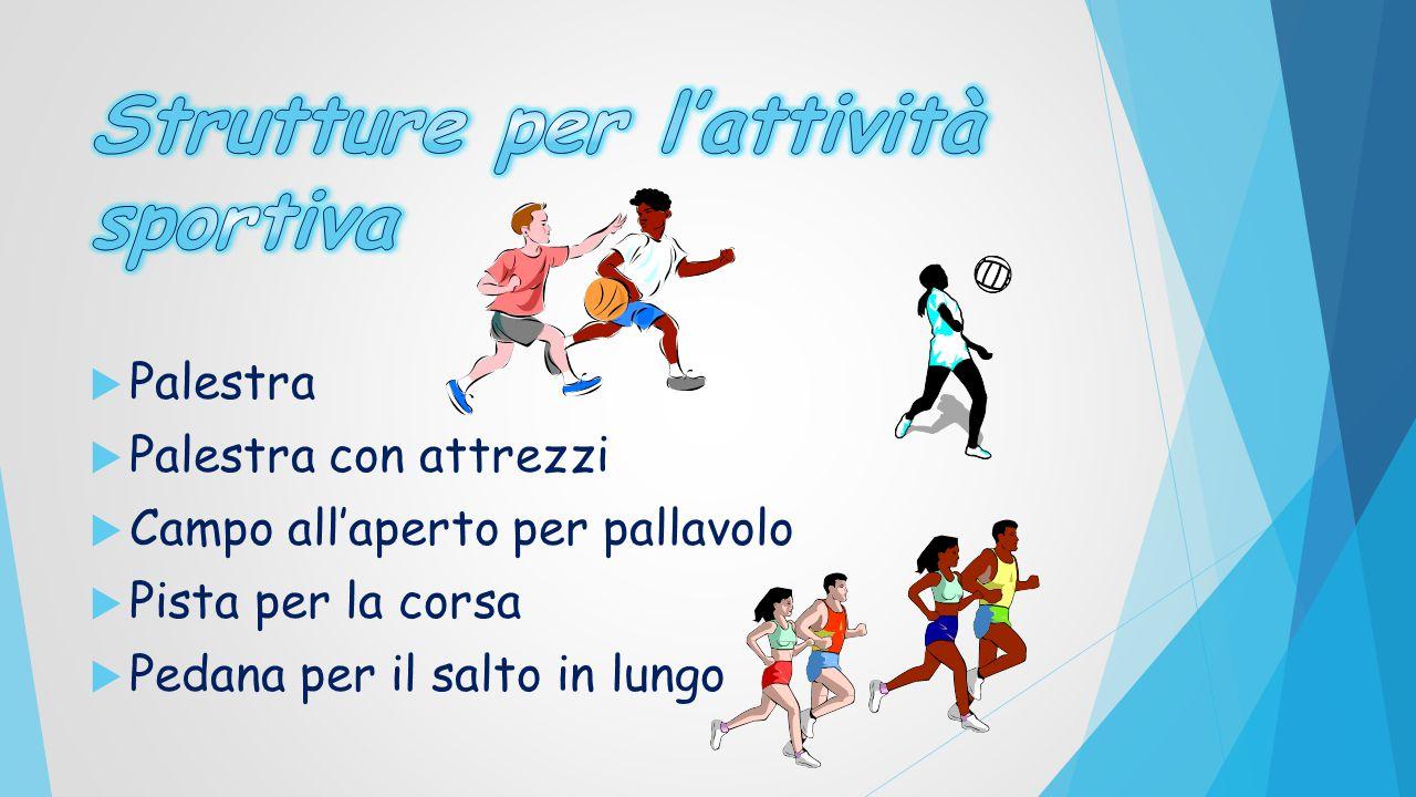  Palestra  Palestra con attrezzi  Campo all'aperto per pallavolo  Pista per la corsa  Pedana per il salto in lungo