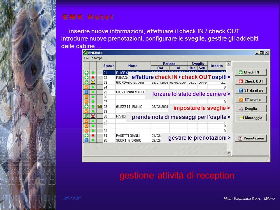 Mitan Telematica S.p.A. - Milano … inserire nuove informazioni, effettuare il check IN / check OUT, introdurre nuove prenotazioni, configurare le sveg