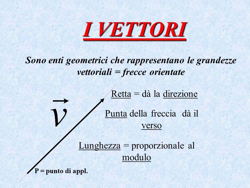 I VETTORI Sono enti geometrici che rappresentano le grandezze vettoriali = frecce orientate P = punto di appl. Retta = dà la direzione Lunghezza = pro
