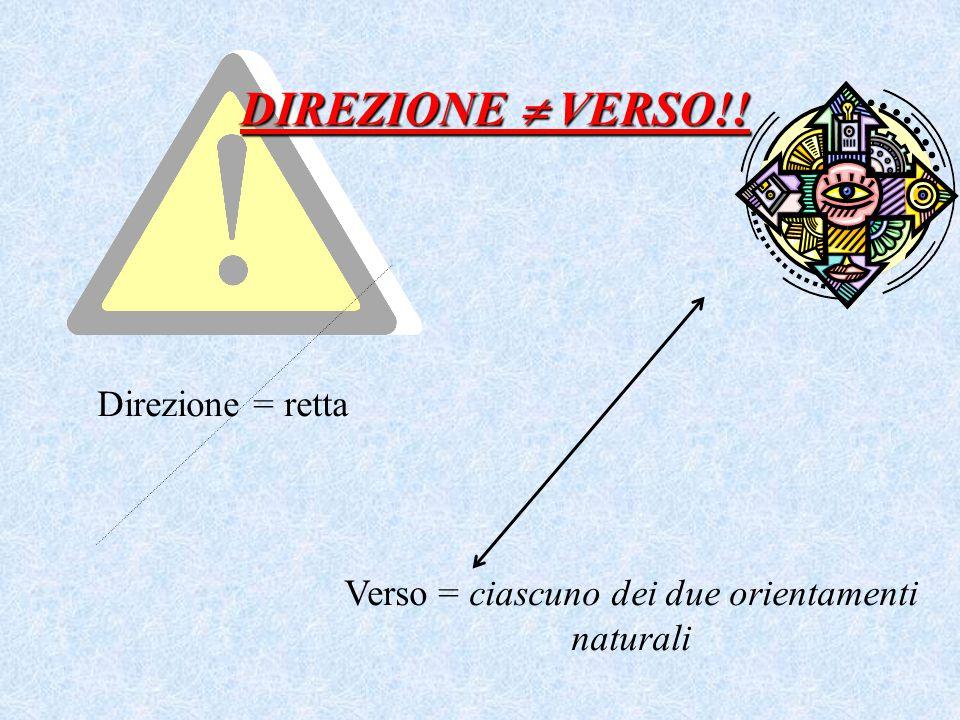 DIREZIONE  VERSO!! Direzione = retta Verso = ciascuno dei due orientamenti naturali