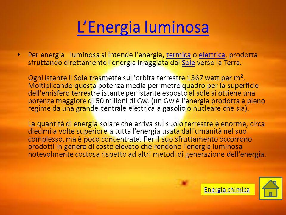 L'Energia luminosa Per energia luminosa si intende l'energia, termica o elettrica, prodotta sfruttando direttamente l'energia irraggiata dal Sole vers