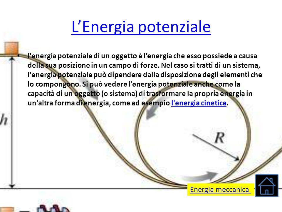 L'Energia potenziale l'energia potenziale di un oggetto è l'energia che esso possiede a causa della sua posizione in un campo di forze. Nel caso si tr
