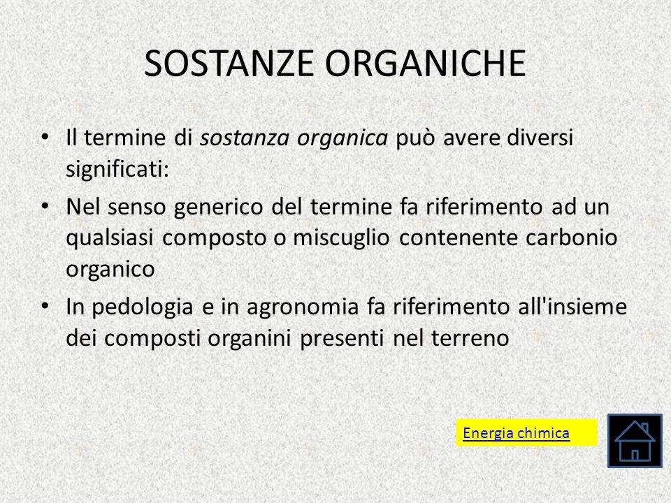 SOSTANZE ORGANICHE Il termine di sostanza organica può avere diversi significati: Nel senso generico del termine fa riferimento ad un qualsiasi compos
