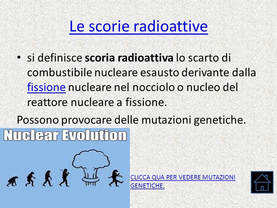 Le scorie radioattive si definisce scoria radioattiva lo scarto di combustibile nucleare esausto derivante dalla fissione nucleare nel nocciolo o nucl
