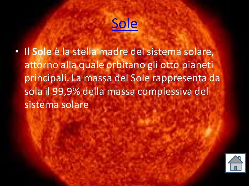 Sole Il Sole è la stella madre del sistema solare, attorno alla quale orbitano gli otto pianeti principali. La massa del Sole rappresenta da sola il 9