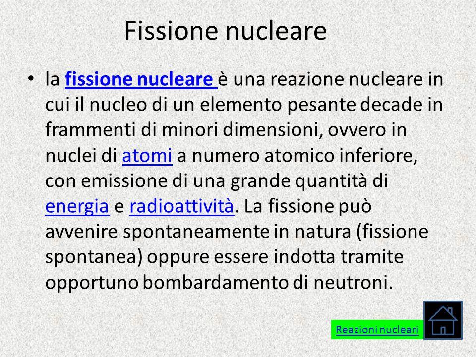 Fissione nucleare la fissione nucleare è una reazione nucleare in cui il nucleo di un elemento pesante decade in frammenti di minori dimensioni, ovver
