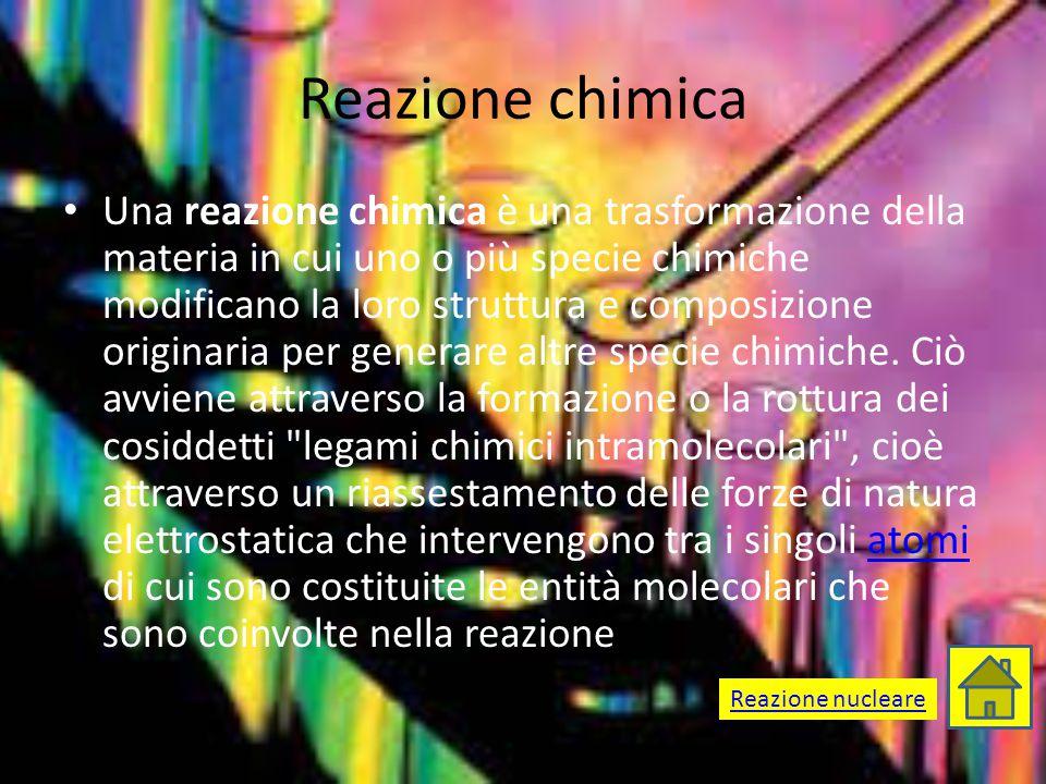 Reazione chimica Una reazione chimica è una trasformazione della materia in cui uno o più specie chimiche modificano la loro struttura e composizione