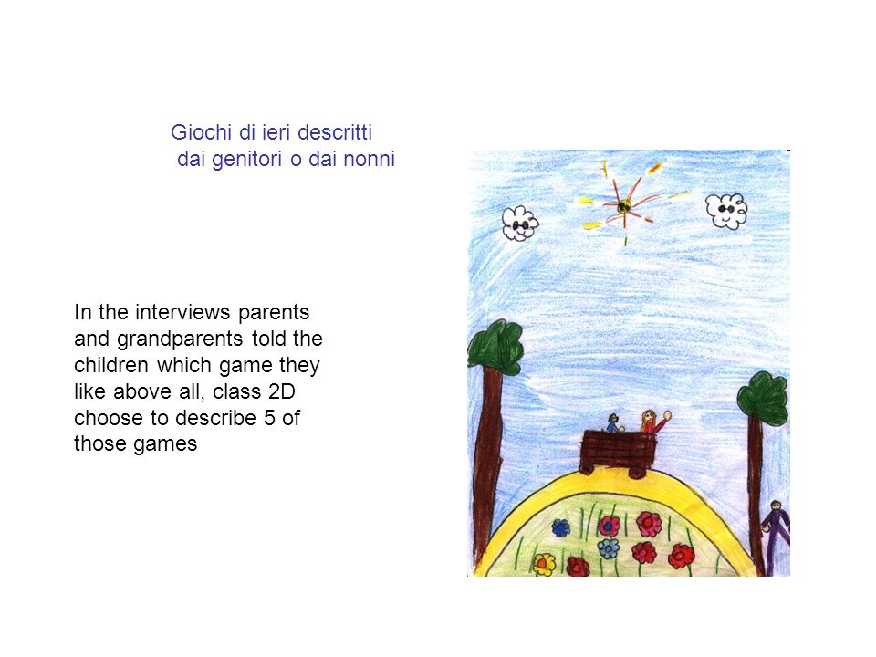 Giochi di ieri descritti dai genitori o dai nonni In the interviews parents and grandparents told the children which game they like above all, class 2D choose to describe 5 of those games