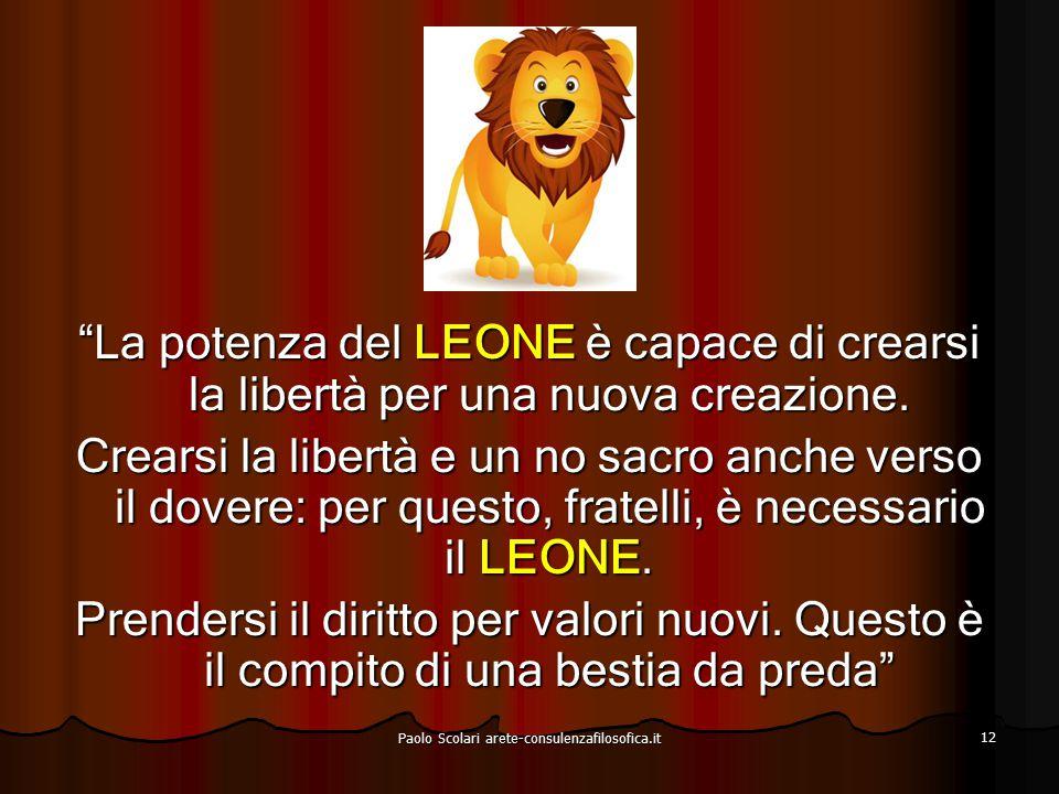 Limite del LEONE Creare nuovi valori – di ciò il LEONE non è ancora capace Paolo Scolari arete-consulenzafilosofica.it 13