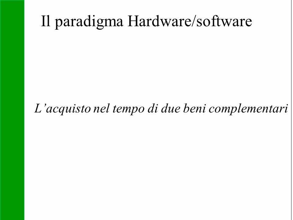 Copyright SDA Bocconi 2005 Competing Technologies, Network Externalities …n 13 Il paradigma Hardware/software L'acquisto nel tempo di due beni complem