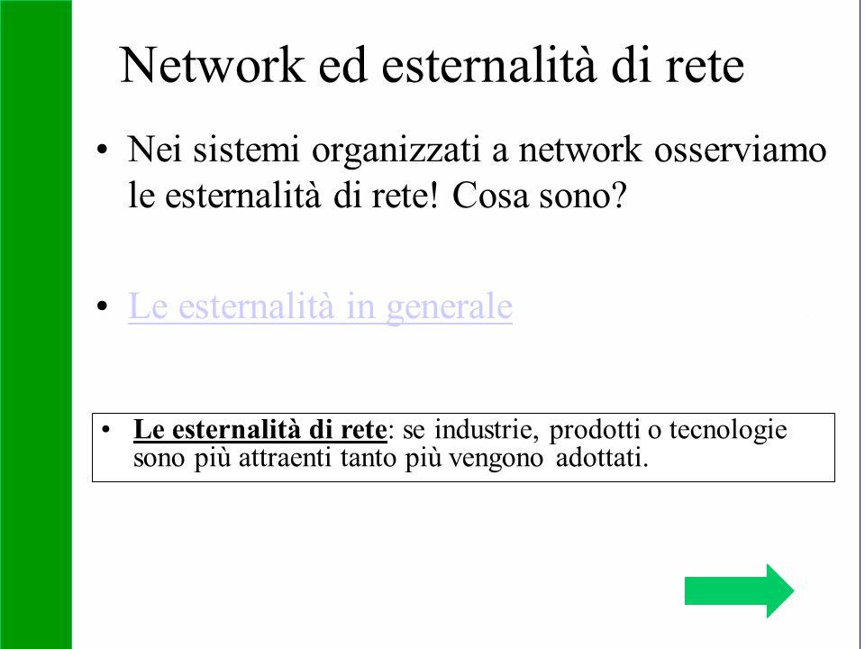 Copyright SDA Bocconi 2005 Competing Technologies, Network Externalities …n 20 Network ed esternalità di rete Nei sistemi organizzati a network osserv