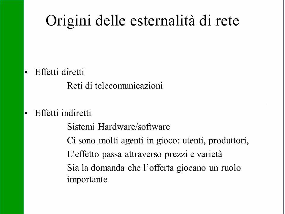 Copyright SDA Bocconi 2005 Competing Technologies, Network Externalities …n 22 Origini delle esternalità di rete Effetti diretti Reti di telecomunicaz