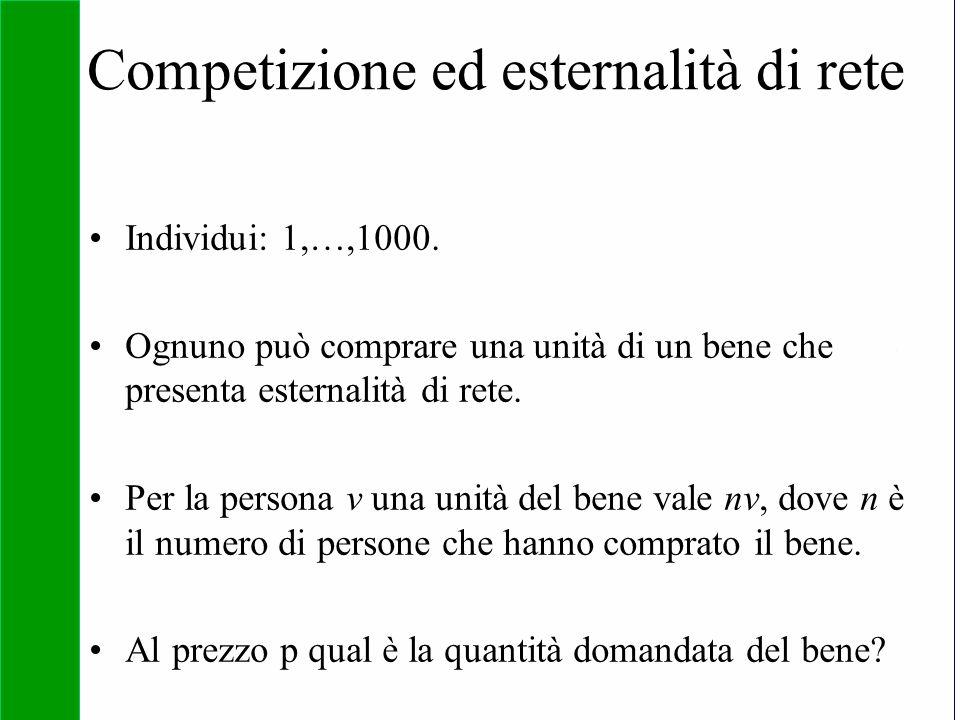 Copyright SDA Bocconi 2005 Competing Technologies, Network Externalities …n 28 Competizione ed esternalità di rete Individui: 1,…,1000. Ognuno può com