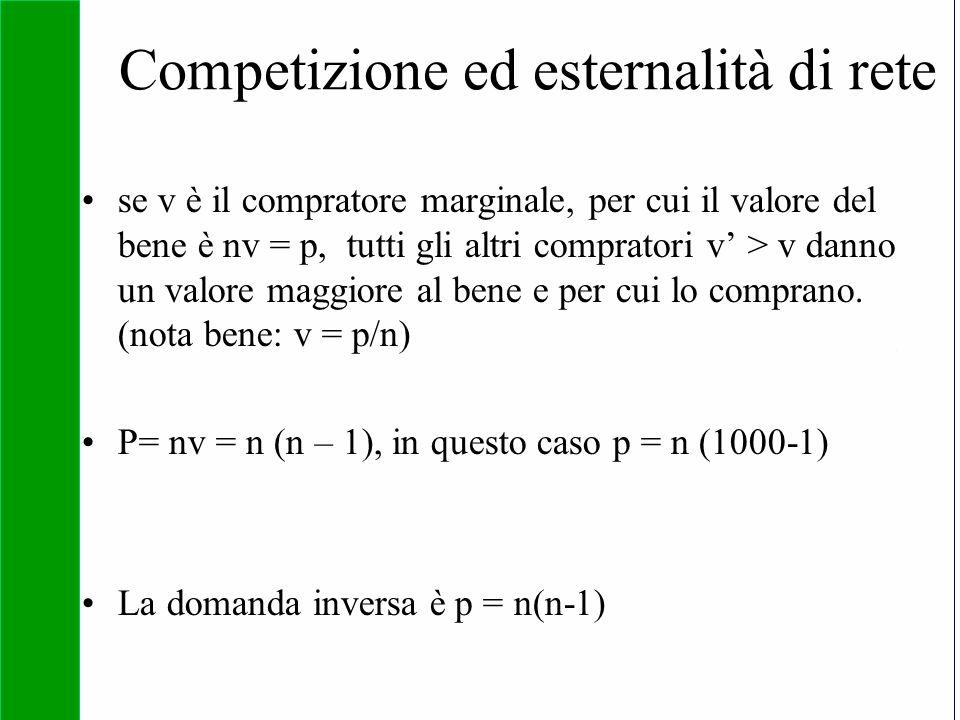 Copyright SDA Bocconi 2005 Competing Technologies, Network Externalities …n 29 Competizione ed esternalità di rete se v è il compratore marginale, per