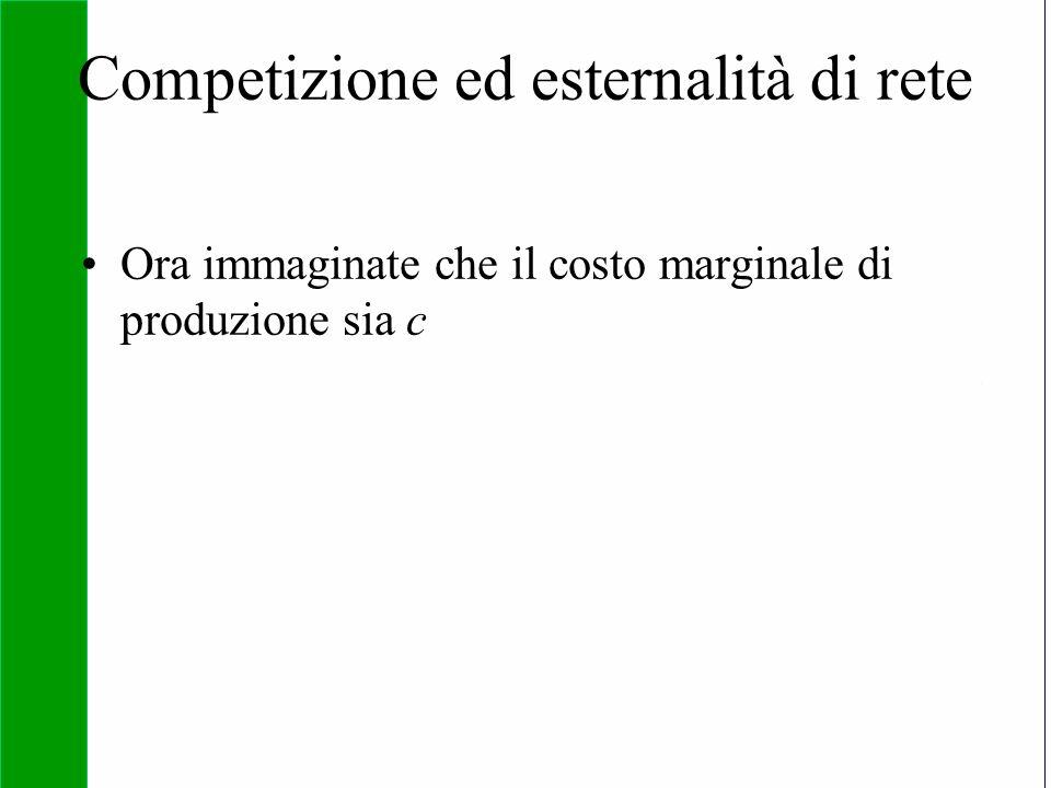 Copyright SDA Bocconi 2005 Competing Technologies, Network Externalities …n 31 Competizione ed esternalità di rete Ora immaginate che il costo margina