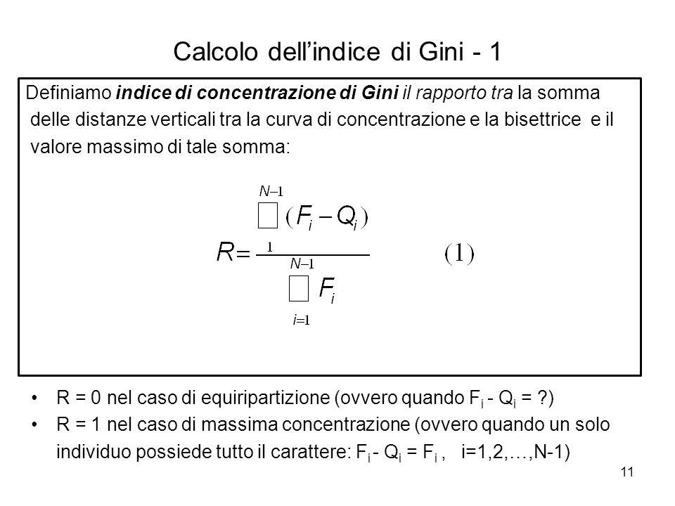 11 Calcolo dell'indice di Gini - 1 Definiamo indice di concentrazione di Gini il rapporto tra la somma delle distanze verticali tra la curva di concen