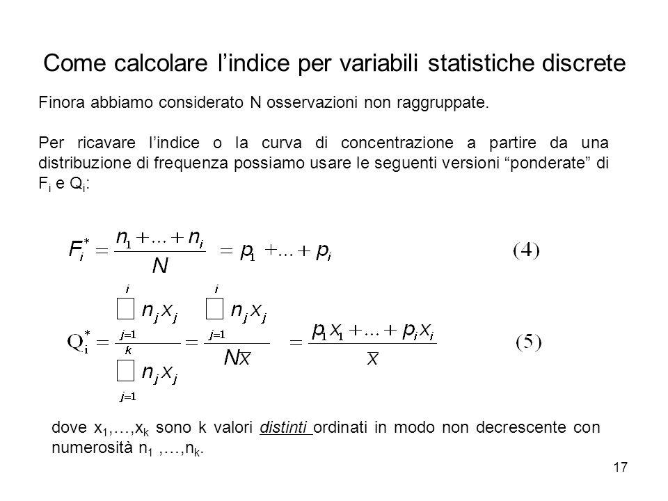 17 Come calcolare l'indice per variabili statistiche discrete Finora abbiamo considerato N osservazioni non raggruppate. Per ricavare l'indice o la cu