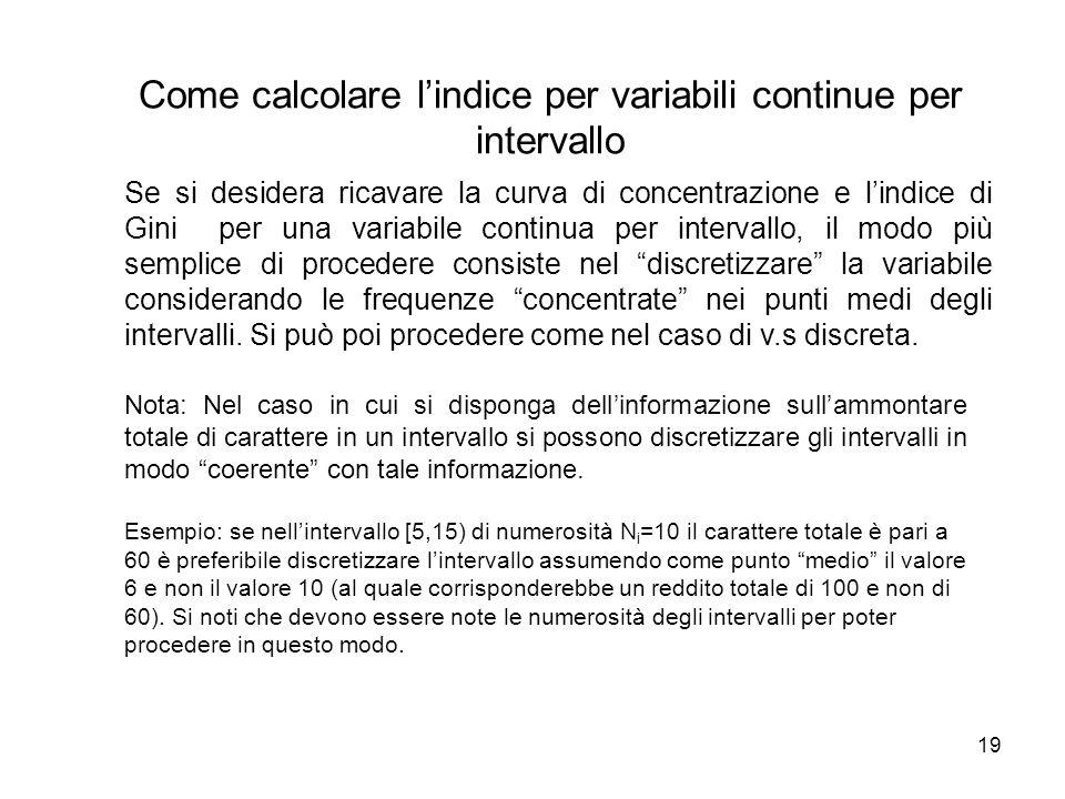19 Nota: Nel caso in cui si disponga dell'informazione sull'ammontare totale di carattere in un intervallo si possono discretizzare gli intervalli in