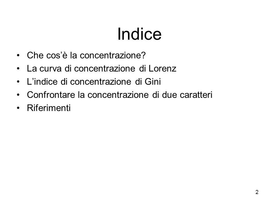 13 L'indice di Gini si può calcolare anche dividendo l'area di concentrazione per il suo valore massimo: R=0 nel caso di equiripartizione (A =?) R=1 nel caso di massima concentrazione (A=A max ).