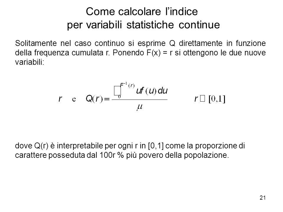 21 Solitamente nel caso continuo si esprime Q direttamente in funzione della frequenza cumulata r. Ponendo F(x) = r si ottengono le due nuove variabil