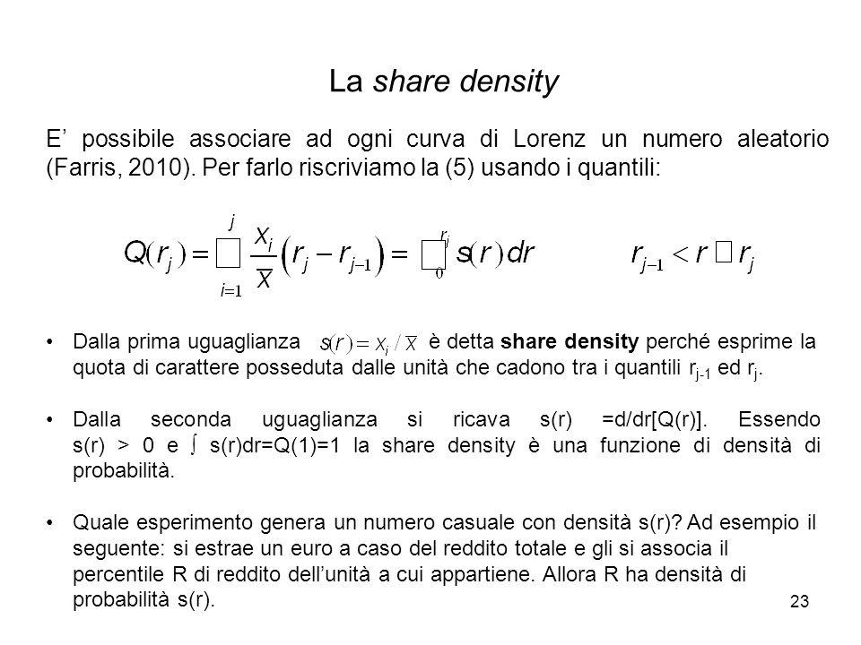 23 E' possibile associare ad ogni curva di Lorenz un numero aleatorio (Farris, 2010). Per farlo riscriviamo la (5) usando i quantili: Dalla prima ugua