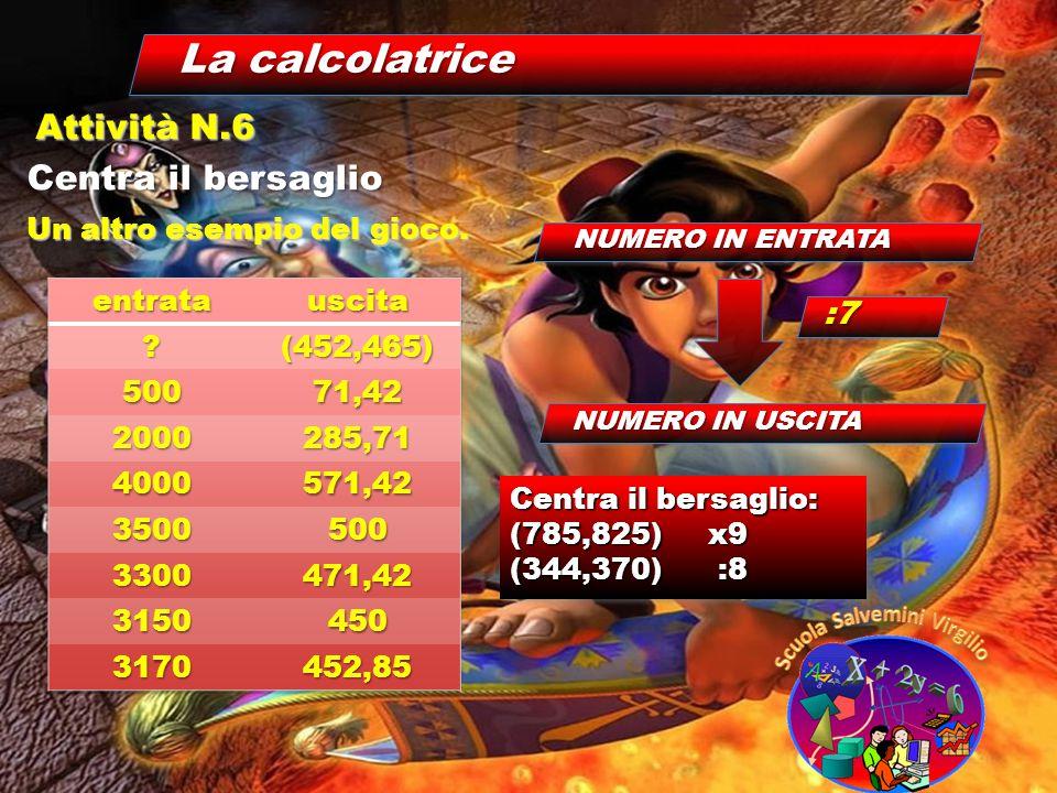 La calcolatrice Centra il bersaglio Attività N.6 Un altro esempio del gioco. NUMERO IN ENTRATA NUMERO IN USCITA :7 Centra il bersaglio: Centra il bers