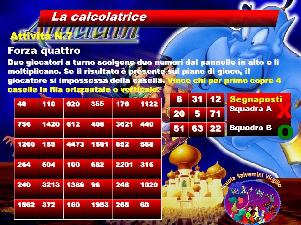 La calcolatrice Forza quattro Attività N.7 Due giocatori a turno scelgono due numeri dal pannello in alto e li moltiplicano. Se il risultato è present