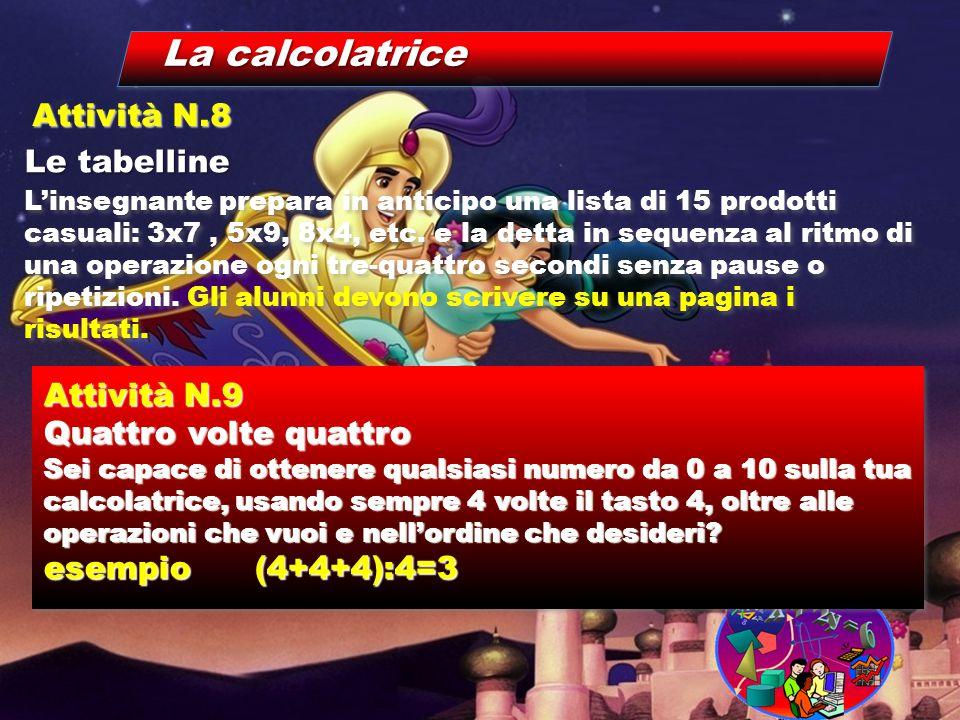 La calcolatrice Le tabelline Attività N.8 L'insegnante prepara in anticipo una lista di 15 prodotti casuali: 3x7, 5x9, 8x4, etc. e la detta in sequenz