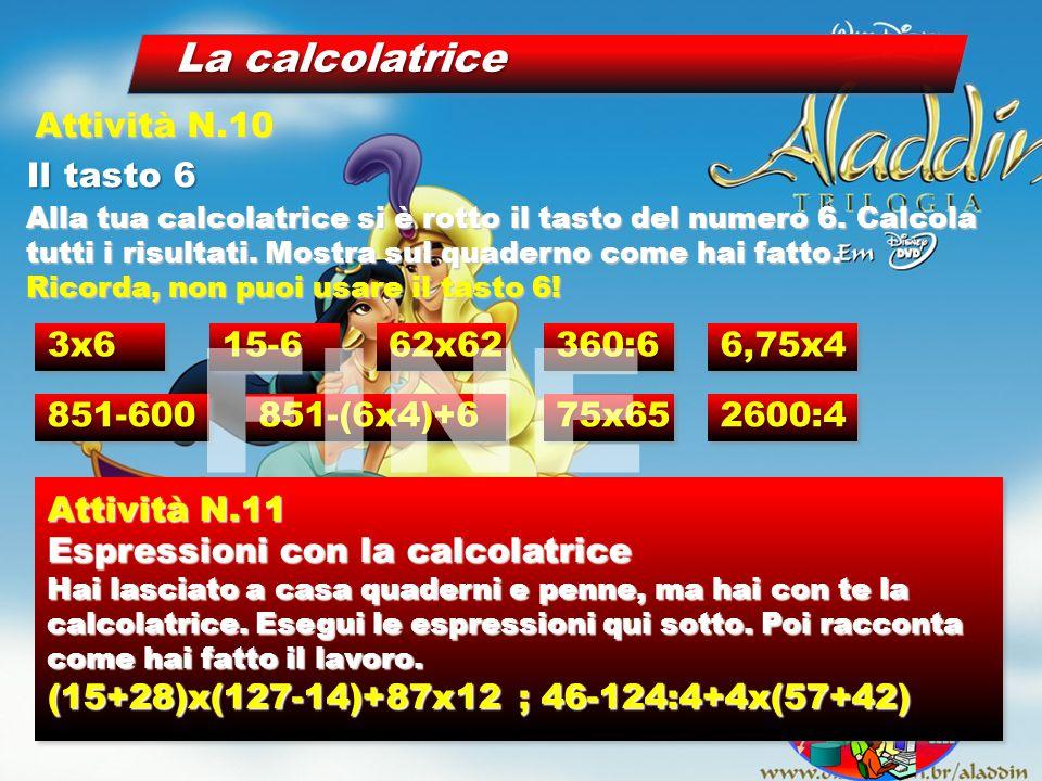 La calcolatrice Il tasto 6 Attività N.10 Alla tua calcolatrice si è rotto il tasto del numero 6. Calcola tutti i risultati. Mostra sul quaderno come h