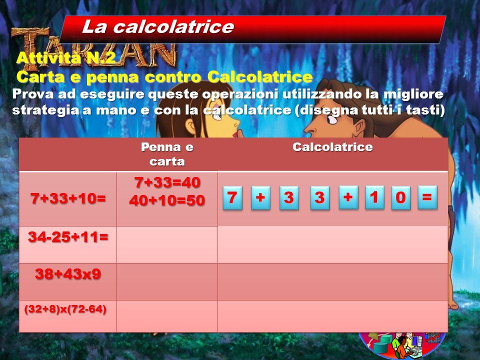 La calcolatrice Prova ad eseguire queste operazioni utilizzando la migliore strategia a mano e con la calcolatrice (disegna tutti i tasti) Attività N.