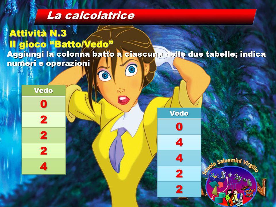 """La calcolatrice Aggiungi la colonna batto a ciascuna delle due tabelle; indica numeri e operazioni Attività N.3 Il gioco """"Batto/Vedo"""""""