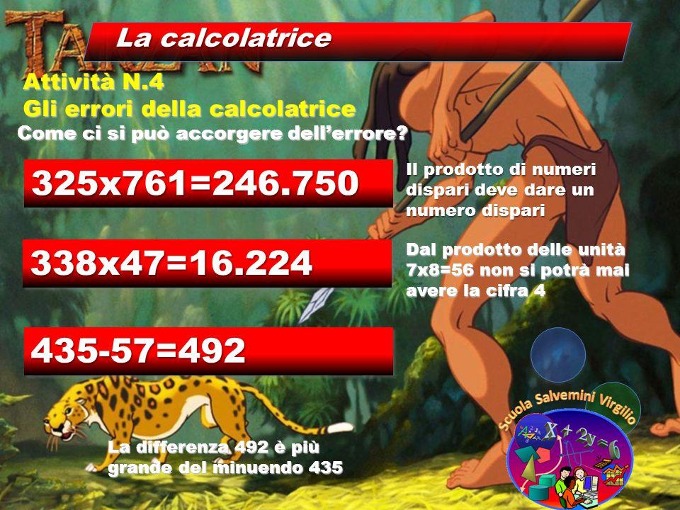 La calcolatrice Come ci si può accorgere dell'errore? Attività N.4 Gli errori della calcolatrice 325x761=246.750325x761=246.750 Il prodotto di numeri
