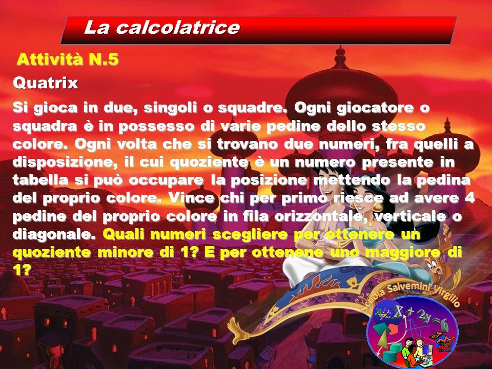 La calcolatrice Quatrix Attività N.5 Si gioca in due, singoli o squadre. Ogni giocatore o squadra è in possesso di varie pedine dello stesso colore. O
