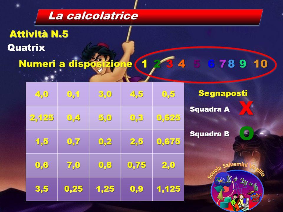 Numeri a disposizione La calcolatrice Quatrix Attività N.5 12345678910 Segnaposti Squadra A Squadra B X O