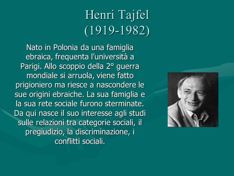 Henri Tajfel (1919-1982) Nato in Polonia da una famiglia ebraica, frequenta l'università a Parigi. Allo scoppio della 2° guerra mondiale si arruola, v