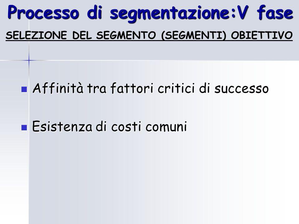 Processo di segmentazione:V fase SELEZIONE DEL SEGMENTO (SEGMENTI) OBIETTIVO Affinità tra fattori critici di successo Affinità tra fattori critici di