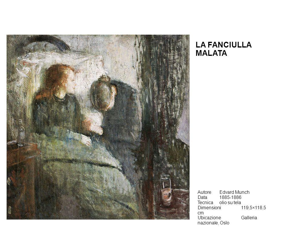 AutoreEdvard Munch Data1885-1886 Tecnicaolio su tela Dimensioni119,5×118,5 cm UbicazioneGalleria nazionale, Oslo LA FANCIULLA MALATA